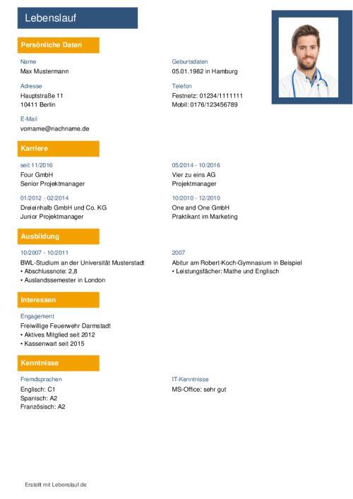 Lebenslauf Vorlagen Muster Kostenloser Download Als Pdf