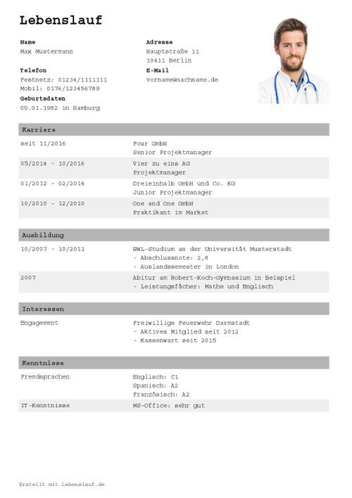 Tabellarischer Lebenslauf Vorlage Muster Vorlage Ch 15