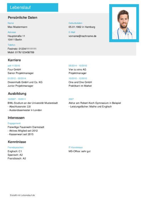 Lebenslauf Vorlagen & Muster - Kostenloser Download als PDF